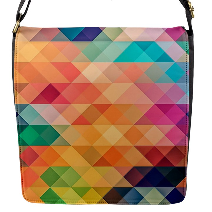 Texture Background Squares Tile Flap Messenger Bag (S)