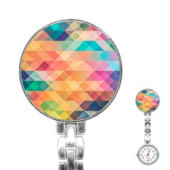 Texture Background Squares Tile Stainless Steel Nurses Watch
