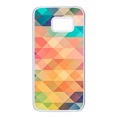 Texture Background Squares Tile Samsung Galaxy S7 White Seamless Case