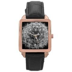 Dandelion Fibonacci Abstract Flower Rose Gold Leather Watch