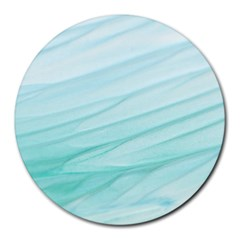 Blue Texture Seawall Ink Wall Painting Round Mousepads