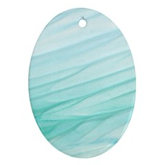 Blue Texture Seawall Ink Wall Painting Ornament (oval)