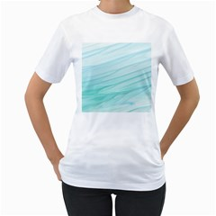Blue Texture Seawall Ink Wall Painting Women s T Shirt (white) (two Sided)