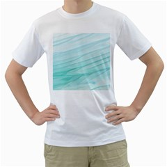 Blue Texture Seawall Ink Wall Painting Men s T Shirt (white) (two Sided)