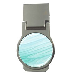 Blue Texture Seawall Ink Wall Painting Money Clips (round)