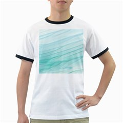 Blue Texture Seawall Ink Wall Painting Ringer T Shirts