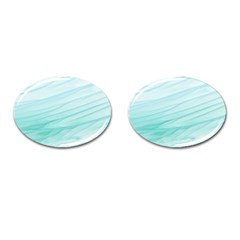 Blue Texture Seawall Ink Wall Painting Cufflinks (oval)