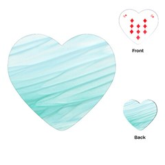 Blue Texture Seawall Ink Wall Painting Playing Cards (heart)