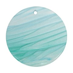 Blue Texture Seawall Ink Wall Painting Round Ornament (two Sides)