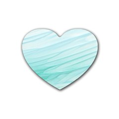 Blue Texture Seawall Ink Wall Painting Rubber Coaster (heart)  by Nexatart