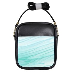 Blue Texture Seawall Ink Wall Painting Girls Sling Bags by Nexatart
