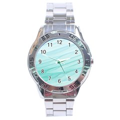 Blue Texture Seawall Ink Wall Painting Stainless Steel Analogue Watch