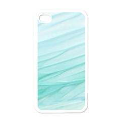 Blue Texture Seawall Ink Wall Painting Apple Iphone 4 Case (white)