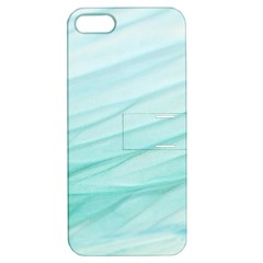 Blue Texture Seawall Ink Wall Painting Apple Iphone 5 Hardshell Case With Stand