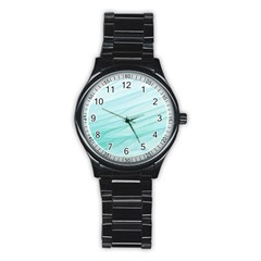 Blue Texture Seawall Ink Wall Painting Stainless Steel Round Watch