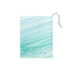 Blue Texture Seawall Ink Wall Painting Drawstring Pouches (small)