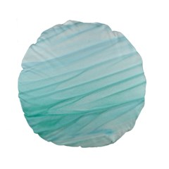 Blue Texture Seawall Ink Wall Painting Standard 15  Premium Flano Round Cushions