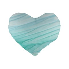 Blue Texture Seawall Ink Wall Painting Standard 16  Premium Flano Heart Shape Cushions