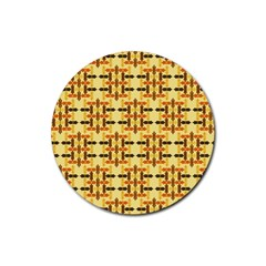 Ethnic Traditional Vintage Background Abstract Rubber Round Coaster (4 Pack)