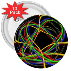 Ball Abstract Pattern Lines 3  Buttons (10 Pack)