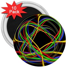 Ball Abstract Pattern Lines 3  Magnets (10 Pack)