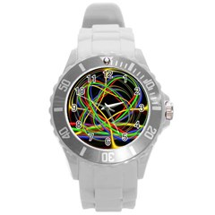 Ball Abstract Pattern Lines Round Plastic Sport Watch (l)