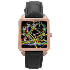 Ball Abstract Pattern Lines Rose Gold Leather Watch
