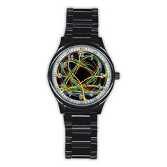 Ball Abstract Pattern Lines Stainless Steel Round Watch