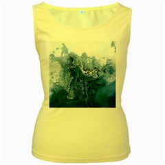 Water Nature Background Abstract Women s Yellow Tank Top