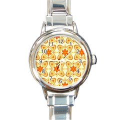 Background Floral Forms Flower Round Italian Charm Watch