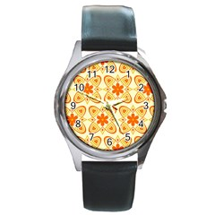 Background Floral Forms Flower Round Metal Watch