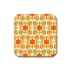 Background Floral Forms Flower Rubber Square Coaster (4 Pack)