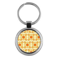 Background Floral Forms Flower Key Chains (round)