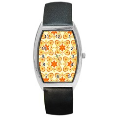 Background Floral Forms Flower Barrel Style Metal Watch
