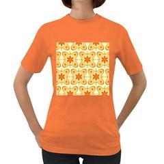 Background Floral Forms Flower Women s Dark T Shirt