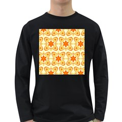 Background Floral Forms Flower Long Sleeve Dark T Shirts