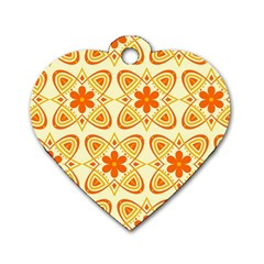 Background Floral Forms Flower Dog Tag Heart (one Side)
