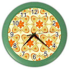 Background Floral Forms Flower Color Wall Clocks