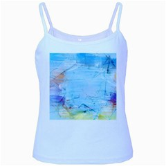 Background Art Abstract Watercolor Baby Blue Spaghetti Tank