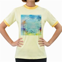 Background Art Abstract Watercolor Women s Fitted Ringer T Shirts