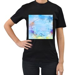 Background Art Abstract Watercolor Women s T Shirt (black) by Nexatart