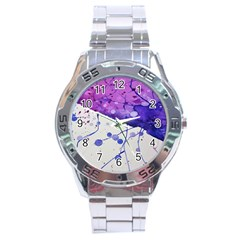 Art Painting Abstract Spots Stainless Steel Analogue Watch