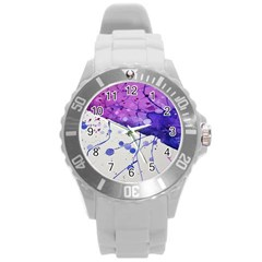 Art Painting Abstract Spots Round Plastic Sport Watch (l)