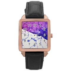 Art Painting Abstract Spots Rose Gold Leather Watch