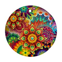 Colorful Abstract Background Colorful Ornament (round)