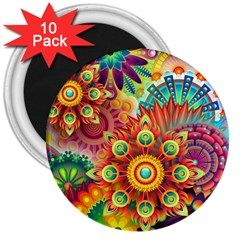 Colorful Abstract Background Colorful 3  Magnets (10 Pack)