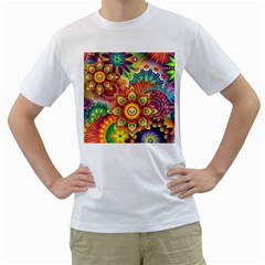 Colorful Abstract Background Colorful Men s T Shirt (white) (two Sided)