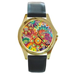 Colorful Abstract Background Colorful Round Gold Metal Watch