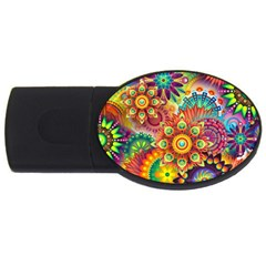 Colorful Abstract Background Colorful Usb Flash Drive Oval (2 Gb)