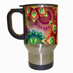 Colorful Abstract Background Colorful Travel Mugs (white) by Nexatart